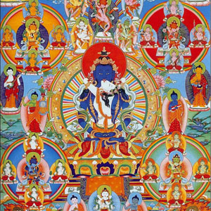 Thangka representing 42 peaceful deities